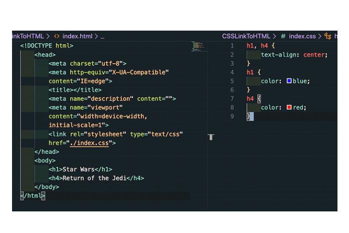 HTML-файл ссылается на соответствующий CSS-файл, добавляя элемент