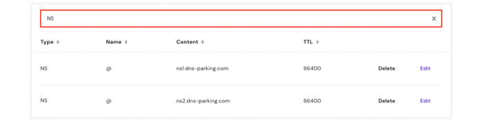 Перейдите в строку поиска и введите NS, чтобы найти серверы име