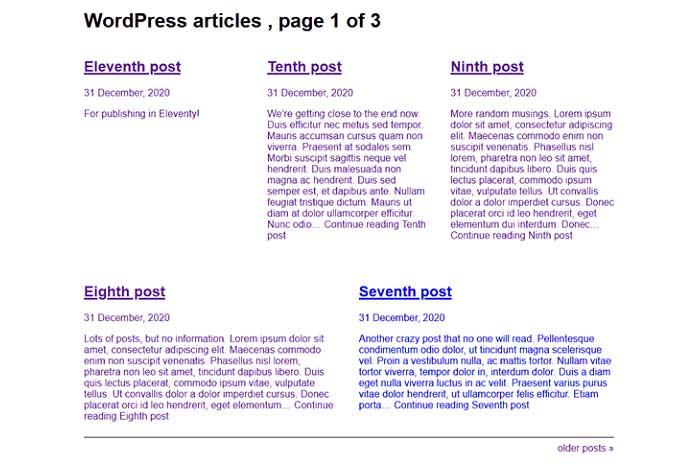 Создание индексных страниц