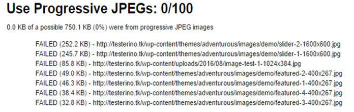 Врезультатах будет отображаться «FAILED» для изображений Baseline JPEG, как показано ниже