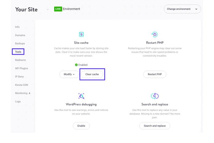 Во-вторых, вы также можете очистить кеш своего сайта через панель управления MyKinsta