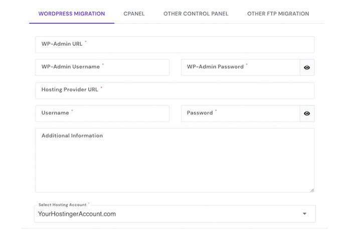 Введите необходимую информацию, нажмите «Отправить» иначните процесс миграции веб-сайта