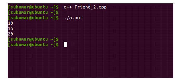 Как вы можете видеть в выводе ниже, эта программа теперь компилируется
