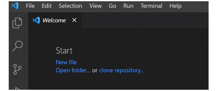 Наглавной панели инструментов VSCode создайте новый файл