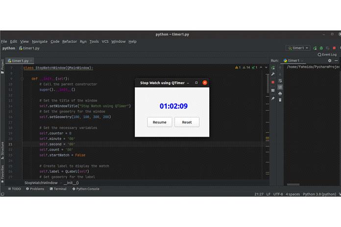 Счетчик прекратит отсчет после того, как пользователь нажмет кнопку Стоп