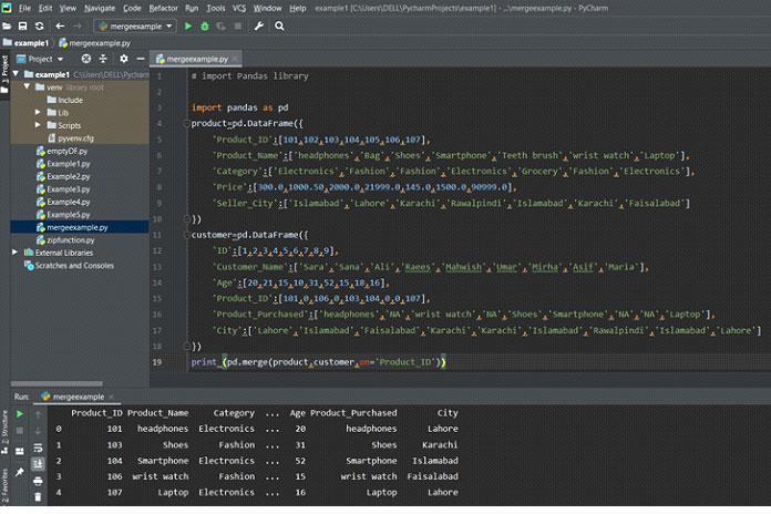 Следующий вывод отображается вокне после выполнения вышеуказанного кода