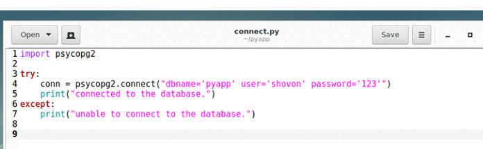 Сначала создайте программу наPython connect.py вкаталоге вашего проекта