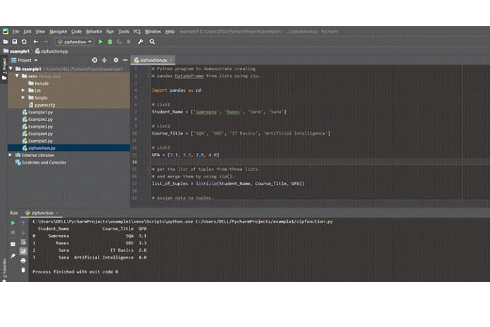 Создайте фрейм данных Pandas спомощью функции zip2