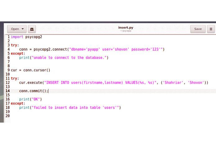Создайте новый файл insert.py вкаталоге вашего проекта