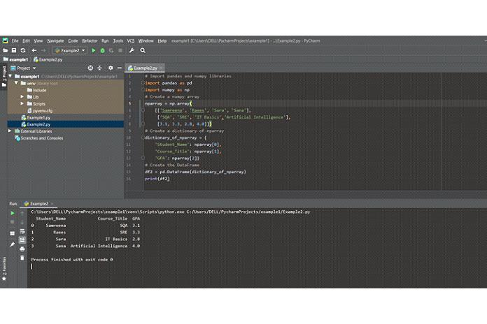 Создать Pandas DataFrame изсловаря массива NumPy