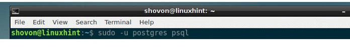 Теперь запустите интерактивный терминал PostgreSQL спомощью следующей команды
