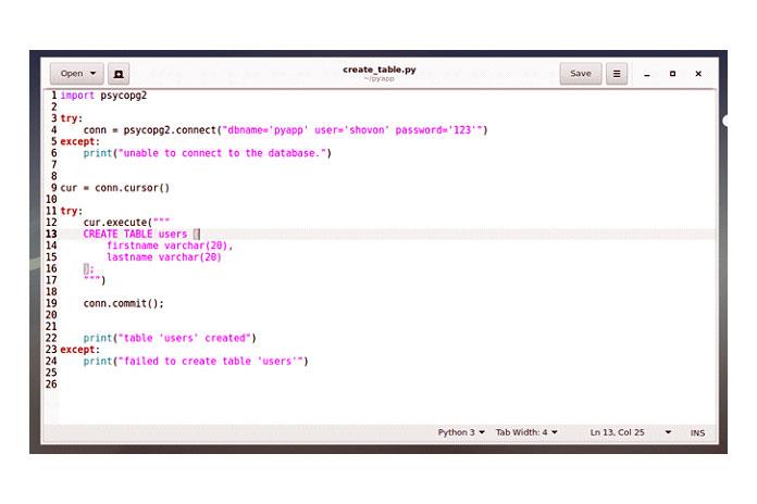 Введите следующий код вновый скрипт Python create_table.py исохраните его