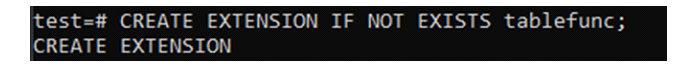 Чтобы использовать это, выдолжны сначала установить пакет tablefunc для базы данных