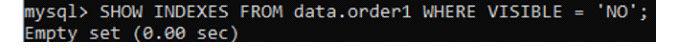 Давайте проверим индексы для любого столбца втаблице order1