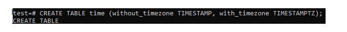 Давайте создадим быструю таблицу сименем «время» сдвумя полями
