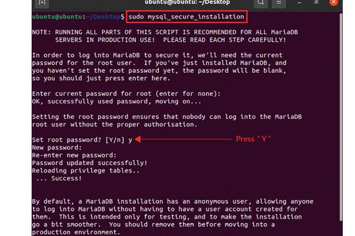 Для безопасной установки сервера MariaDB