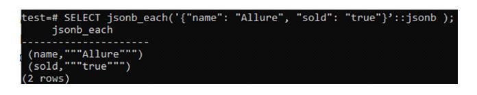 Функция JSONB Each принимает данные ипреобразует