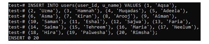 Мывставили 20записей для таблицы «пользователи»