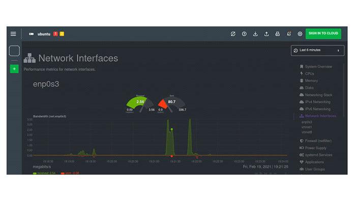 Напанели управления «Сетевые интерфейсы»