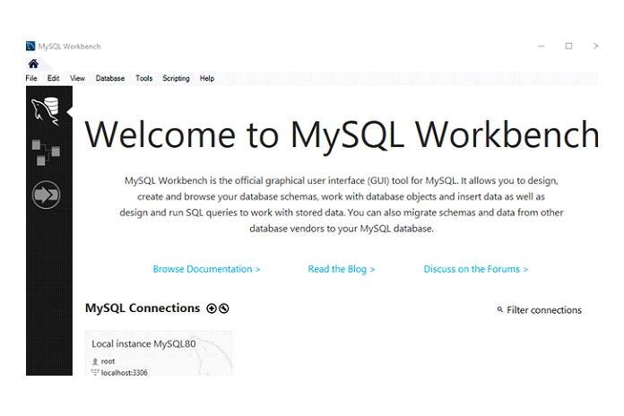 Откройте только что установленную MySQL