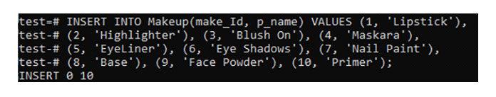 После создания таблицы «Макияж» добавим внее несколько записей