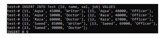 После создания таблицы пора вставить некоторые значения втаблицу