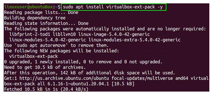 После завершения установки VirtualBox выможете установить