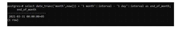 Тотже подход date_trunc будет генерировать последний день месяца