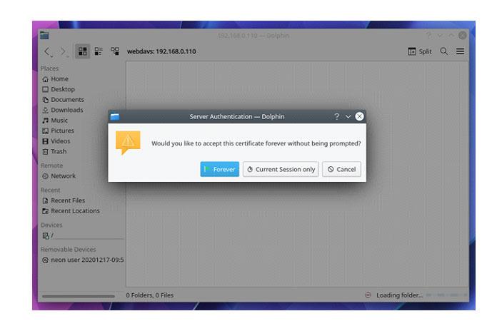 Если выхотите принять сертификат SSL сервера WebDAV только для текущего сеанса рабочего стола