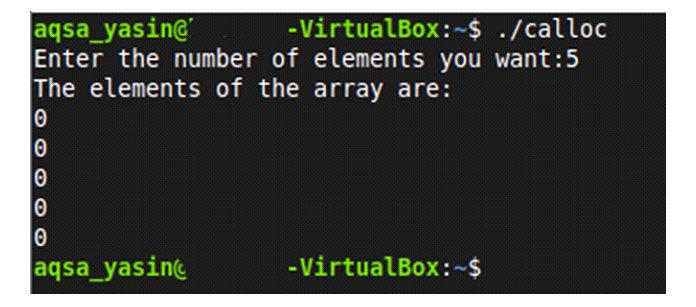Это подтверждает, что функция «calloc» инициализирует выделенную динамическую память нулями