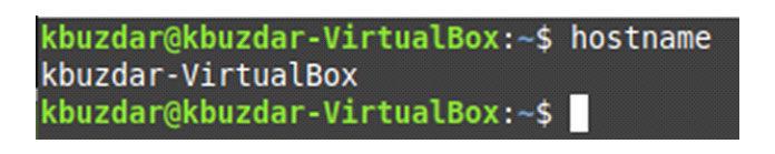 Имя хоста нашей системы Linux показано наследующем изображении