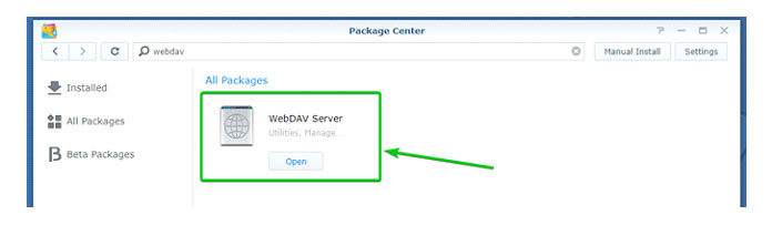 Наэтом этапе должен быть установлен пакет сервера WebDAV