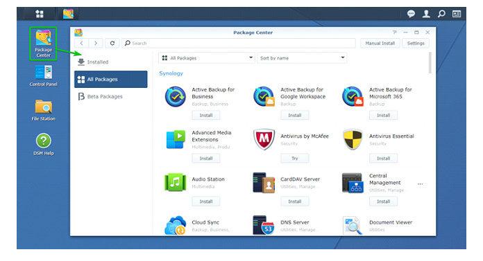Найдите ключевое слово webdav, идолжен отобразиться пакет сервера WebDAV