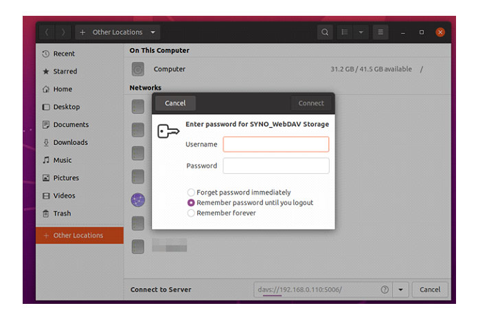 Вам будет предложено ввести имя пользователя ипароль для входа вSynology NAS