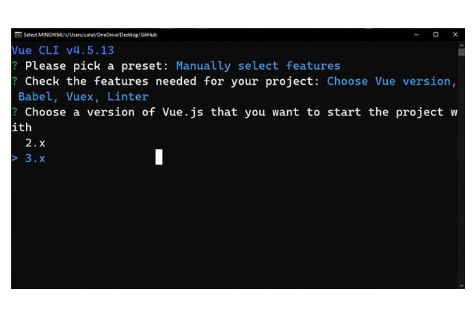 Выбор версии Vue вVue CLI