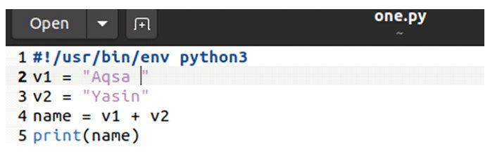 Давайте выполним файл, используя запрос «python3»