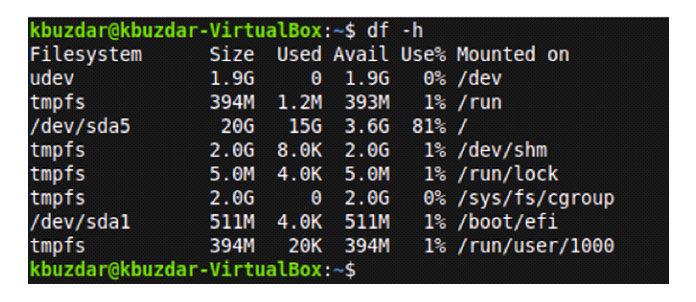 Дисковое пространство файловых систем вудобочитаемом формате показано ниже