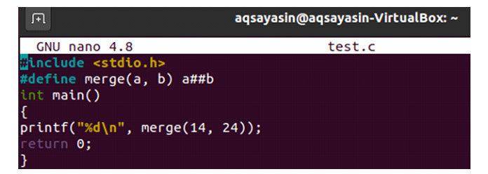 Функция «слияние» используется как макрос сдвумя переменными всвоем параметре