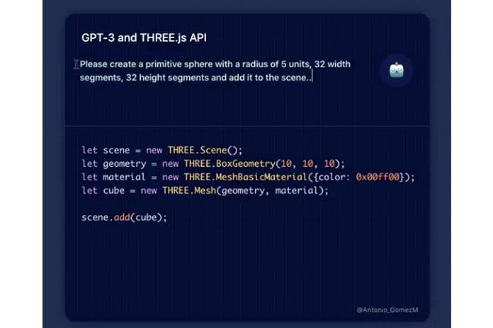 Онгенерирует код для 3D-сцены, если выописываете ейсцену