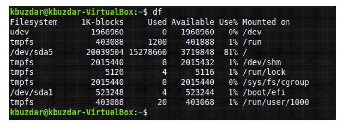 Отображение пространства текущих смонтированных файловых систем в Linux