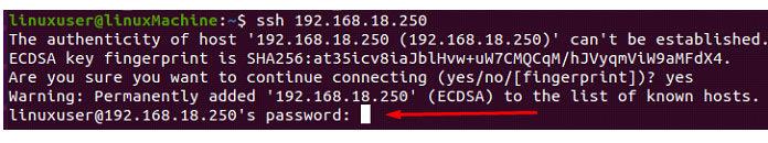 После этого терминал запросит пароль пользователя
