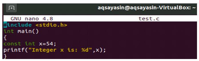 После открытия редактора файлов nano введите внем приведенный ниже скрипт языка C