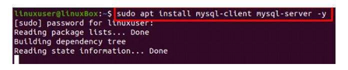 Приведенная выше команда установит MySQL запару минут