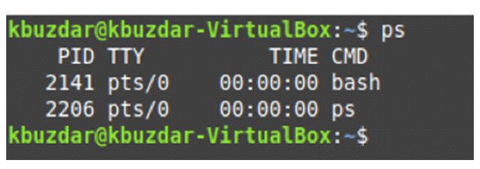 Процессы, запущенные втекущей оболочке нашей системы Linux, показаны наизображении ниже