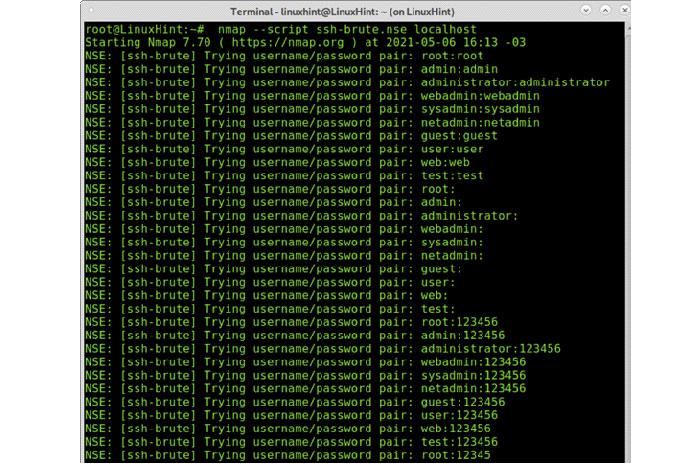 Впоследнем примере показано, как взломать учетные данные SSH спомощью NSE
