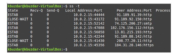 Все TCP-соединения нашей системы Linux показаны ниже