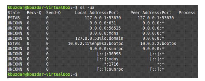 Все UDP-соединения нашей системы Linux следующие