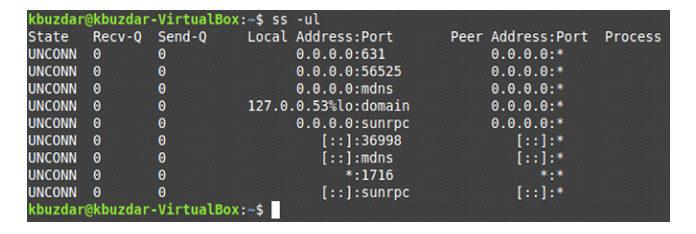 Все прослушивающие UDP-соединения нашей системы Linux показаны ниже