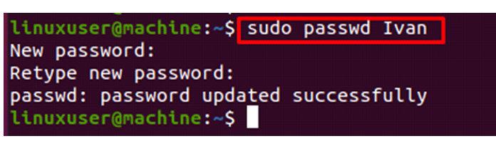 Введите новый пароль, который выхотите установить для пользователя