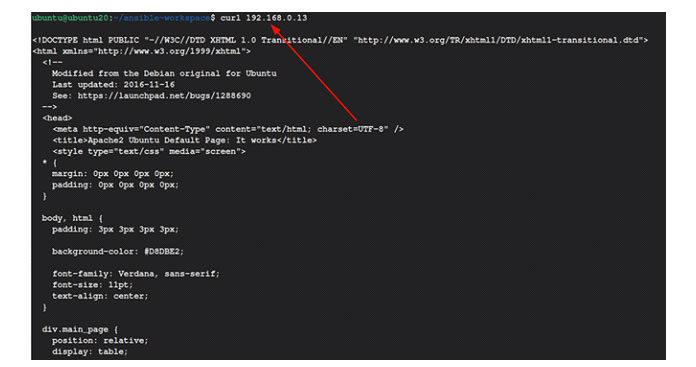 Выдолжны получить исходный код apache поумолчанию (фрагмент показан ниже)